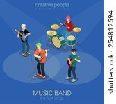 Rock Music Band Flat 3d Web...