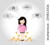 business woman planning to save ... | Shutterstock .eps vector #254813326