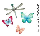 Stock vector watercolor butterflies and dragonfly set vector artistic insects in vector 254843449