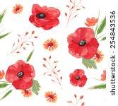 watercolor vintage seamless...   Shutterstock .eps vector #254843536