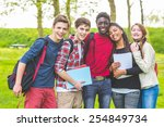 group of multiethnic teenage... | Shutterstock . vector #254849734