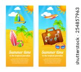 summer time tropical paradise... | Shutterstock .eps vector #254857963