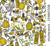 olive seamless pattern with oil ... | Shutterstock .eps vector #254865208