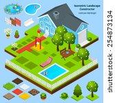 landscape design isometric... | Shutterstock .eps vector #254873134