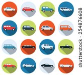a set of colorful car vector... | Shutterstock .eps vector #254876608