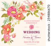 wedding floral invitation card  ... | Shutterstock .eps vector #254886670