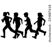 Children Silhouettes Running...