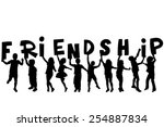 friendship concept with black... | Shutterstock .eps vector #254887834