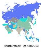 vector map of asia  | Shutterstock .eps vector #254889013