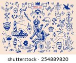big vector set of hand drawn... | Shutterstock .eps vector #254889820