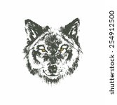 hand drawn wolf sketch on white ... | Shutterstock .eps vector #254912500