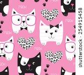 seamless pink cat pattern... | Shutterstock .eps vector #254915458