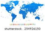 blue world map and navigation... | Shutterstock .eps vector #254926150