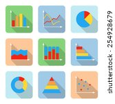 flat graph icons with long...