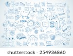 Business doodles Sketch set : infographics elements isolated, vector shapes. It include lots of icons included graphs, stats, devices,laptops, clouds, concepts and so on. | Shutterstock vector #254936860
