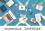 medical team desktop with... | Shutterstock .eps vector #254940166