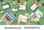 creative team desktop top view... | Shutterstock .eps vector #254940370