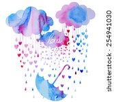 rain of hearts | Shutterstock .eps vector #254941030