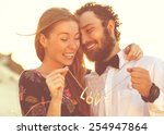 happy couple in love on the... | Shutterstock . vector #254947864