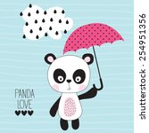 Cute Panda With Umbrella Vector ...