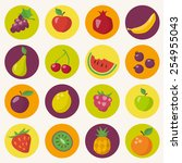 fruits icons set in flat style   Shutterstock .eps vector #254955043