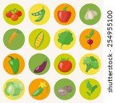 vegetables icons set in flat... | Shutterstock .eps vector #254955100