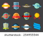 vector ribbons and labels in... | Shutterstock .eps vector #254955544