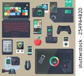 set of flat design gadgets ... | Shutterstock .eps vector #254964820