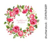 round frame of  watercolor... | Shutterstock . vector #254969689