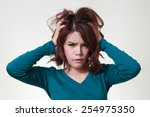 stress. woman stressed is going ... | Shutterstock . vector #254975350