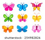 Set Of Colorful Butterflies...