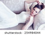 young gorgeous bride is lying... | Shutterstock . vector #254984044