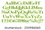 3d green alphabets big and... | Shutterstock . vector #254986060