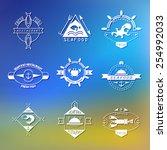 set of seafood logos. lobster... | Shutterstock .eps vector #254992033