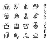 hotel icon set  vector eps10. | Shutterstock .eps vector #254999830
