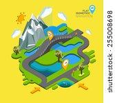 Постер, плакат: Flat vector landscape with