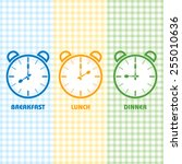 breakfast lunch and dinner time ... | Shutterstock .eps vector #255010636