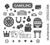 gambling silhouette icons set....
