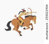 native american indian warrior... | Shutterstock .eps vector #255021904