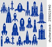set of twenty different rockets | Shutterstock .eps vector #255021940