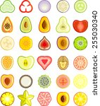 fruits vegetables and slices   Shutterstock .eps vector #255030340