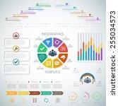 illustration of huge timeline... | Shutterstock .eps vector #255034573