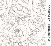 Vintage floral seamless pattern with hand-drawn rose flowers. Element for design. Hand-drawn contour lines and strokes.