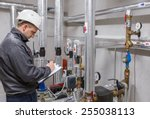technician inspecting heating... | Shutterstock . vector #255038113