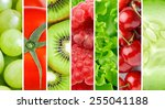 fresh fruit and vegetable... | Shutterstock . vector #255041188