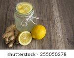 detox lemon and ginger drink in ... | Shutterstock . vector #255050278