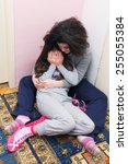 Small photo of Two Young Sisters Crying. Concept: Domestic and Family Violence. Abuse Child.
