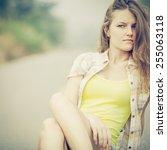 trendy hipster girl relaxing on ... | Shutterstock . vector #255063118