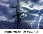 high voltage tower and... | Shutterstock . vector #255068719