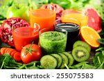 glasses with fresh organic... | Shutterstock . vector #255075583